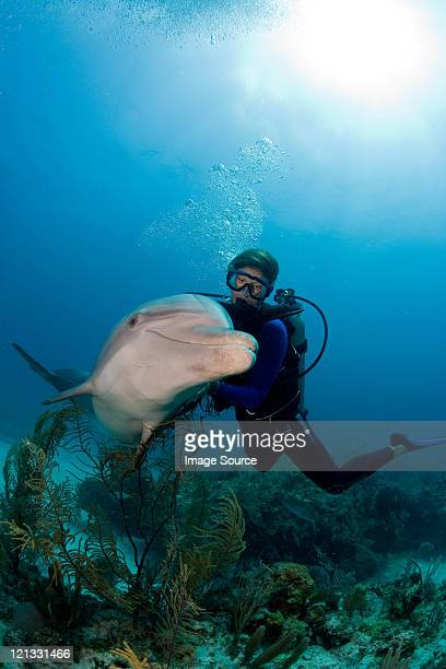 Scuba diver with dolphin