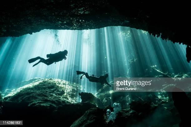 scuba divers and light rays in eden cenote - adventure stock pictures, royalty-free photos & images