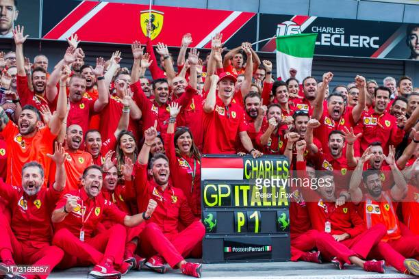Scuderia Ferrari and Charles Leclerc of Ferrari and France celebrate victory during the F1 Grand Prix of Italy at Autodromo di Monza on September 08,...
