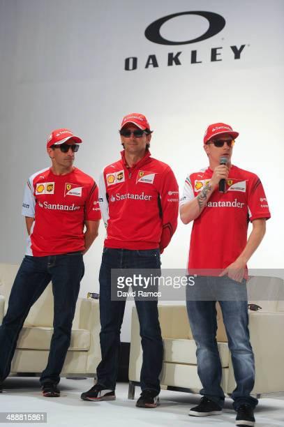 Scuderia Ferrari drivers Marc Gene of Spain Pedro de la Rosa of Spain and Kimi Raikonnen of Finland attend The Official Oakley X Scuderia Ferrari...
