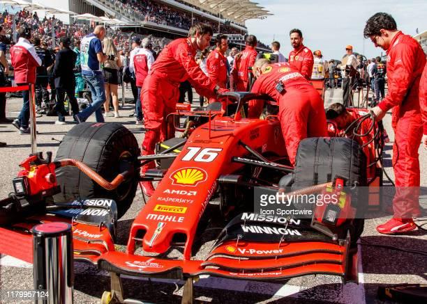 Scuderia Ferrari Mission Winnow driver Charles Leclerc of Monaco's car on the grid prior to the F1 United States Grand Prix held November 3 at the...