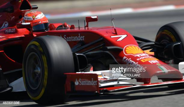 Scuderia Ferrari´s Finnish driver Kimi Raikkonen drives in the second practice session ahead of the German Formula One Grand Prix at the...
