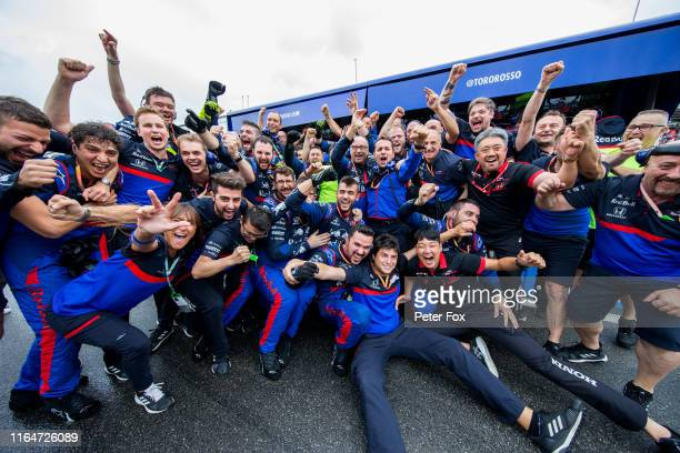 Scuderia Toro Rosso celebrate finishing 3rd during the F1 Grand Prix of Germany at Hockenheimring on July 28 2019 in Hockenheim Germany