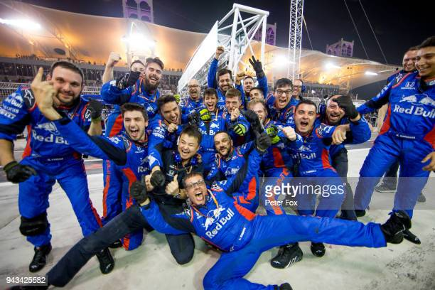 Scuderia Toro Rosso celebrate finishing in 4th position during the Bahrain Formula One Grand Prix at Bahrain International Circuit on April 8 2018 in...