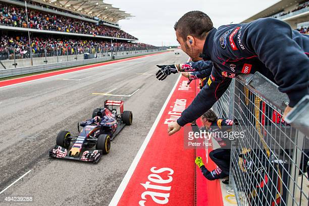 Scuderia Toro Rosso celebrate Max Verstappen of The Netherlands finishing in 4th place during the United States Formula One Grand Prix at Circuit of...