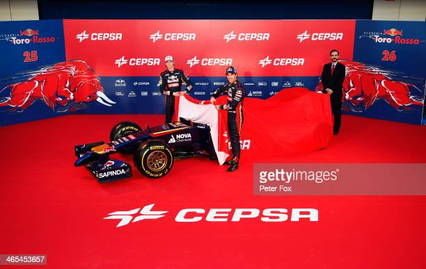 Scuderia Toro Rosso drivers Daniil Kvyat of Russia and JeanEric Vergne of France unveil their new STR9 Formula One car at the Circuito de Jerez on...