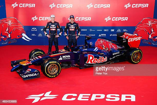 Scuderia Toro Rosso drivers Daniil Kvyat of Russia and JeanEric Vergne of France attend the launch of the new Scuderia Toro Rosso STR9 Formula One...
