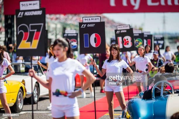 Scuderia Toro Rosso grid girls during the Formula One Grand Prix of Japan at Suzuka Circuit on October 8 2017 in Suzuka