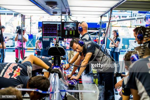 Scuderia Toro Rosso pit garage during practice for the Formula One Grand Prix of Singapore at Marina Bay Street Circuit on September 15 2017 in...