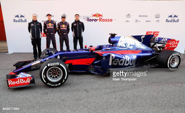 Scuderia Toro Rosso Team Principal Franz Tost Daniil Kvyat of Russia and Scuderia Toro Rosso Carlos Sainz of Spain and Scuderia Toro Rosso and James...