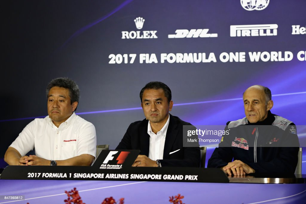 Scuderia Toro Rosso Team Principal Franz Tost with Katsuhide Moriyama and Masashi Yamamoto, both of Honda, in a press conference to announce the partnership between Honda and Scuderia Toro Rosso for the 2018 F1 season onward after practice for the Formula One Grand Prix of Singapore at Marina Bay Street Circuit on September 15, 2017 in Singapore.