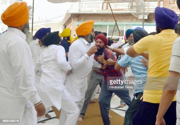 Scuffle between members of the SGPC task force and few youths on the occasion of Operation Bluestar Anniversary at Golden Temple on June 6 2018 in...