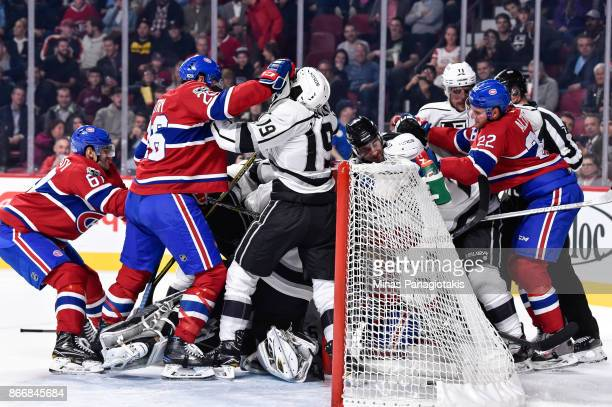 A scuffle breaks out between members of the Los Angeles Kings and the Montreal Canadiens during the NHL game at the Bell Centre on October 26 2017 in...
