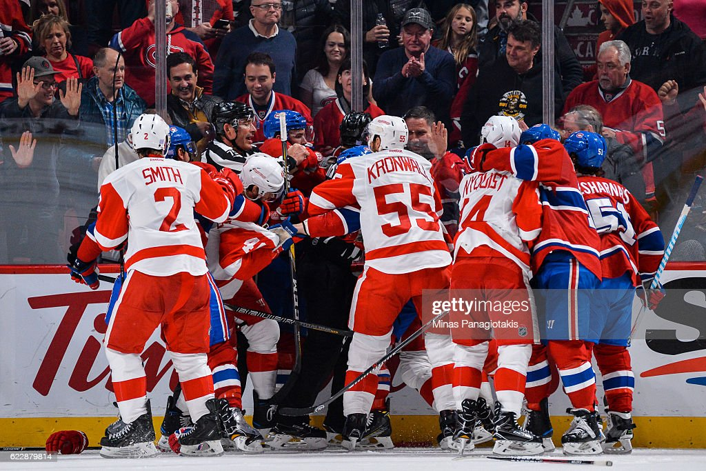 A scuffle breaks out between members of the Montreal Canadiens and the Detroit Red Wings during the NHL game at the Bell Centre on November 12, 2016 in Montreal, Quebec, Canada.