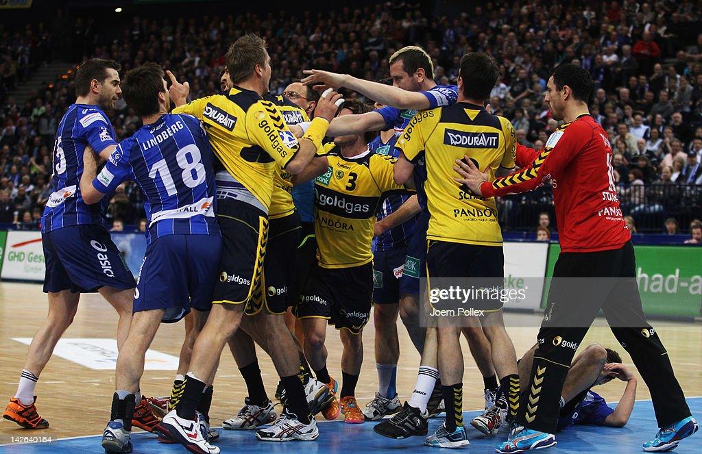 Scuffles between the teams broke out during the Toyota Bundesliga handball game between HSV Hamburg and Rhein-Neckar Loewen at the O2 World on April 10, 2012 in Hamburg, Germany.