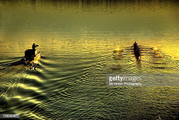 scull rowing team with coach - bill hinton stock pictures, royalty-free photos & images