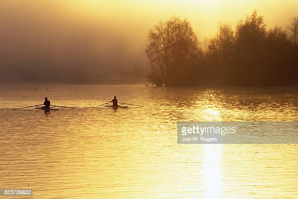 Scullers on Calm Lake Washington