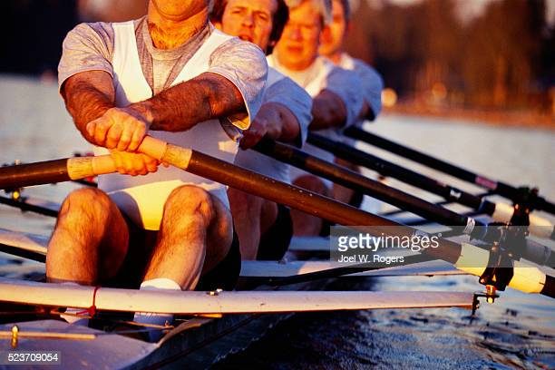 Scullers Rowing Four Man Racing Shell