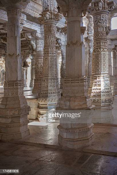 sculpted columns in adinath temple , ranakpur, ind - ranakpur temple stock photos and pictures