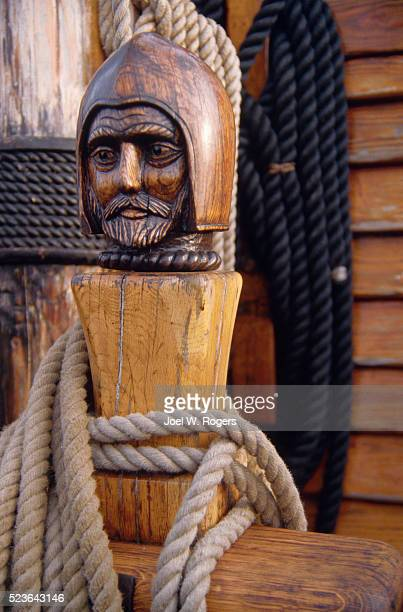 sculpted head detail on golden hinde - golden hind ship stock photos and pictures