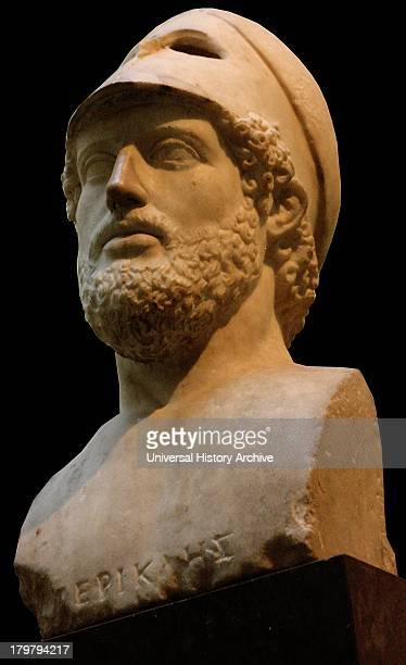Sculpted marble portraiture of Pericles former ruler of Athens Roman 2nd century copy of Greek original depicting him as a model citizen soldier