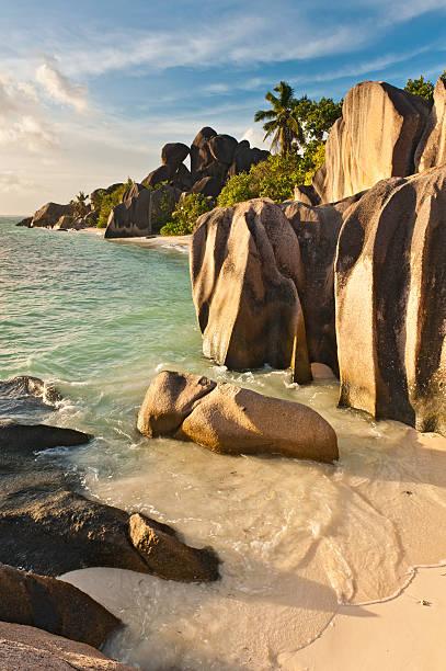 Sculpted Rocks Lagoon Beach And Palm Trees Seychelles Wall Art