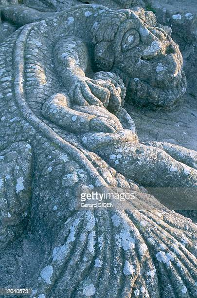Sculpted rocks of Rotheneuf in Cote d'Emeraude Brittany France Rotheneuf
