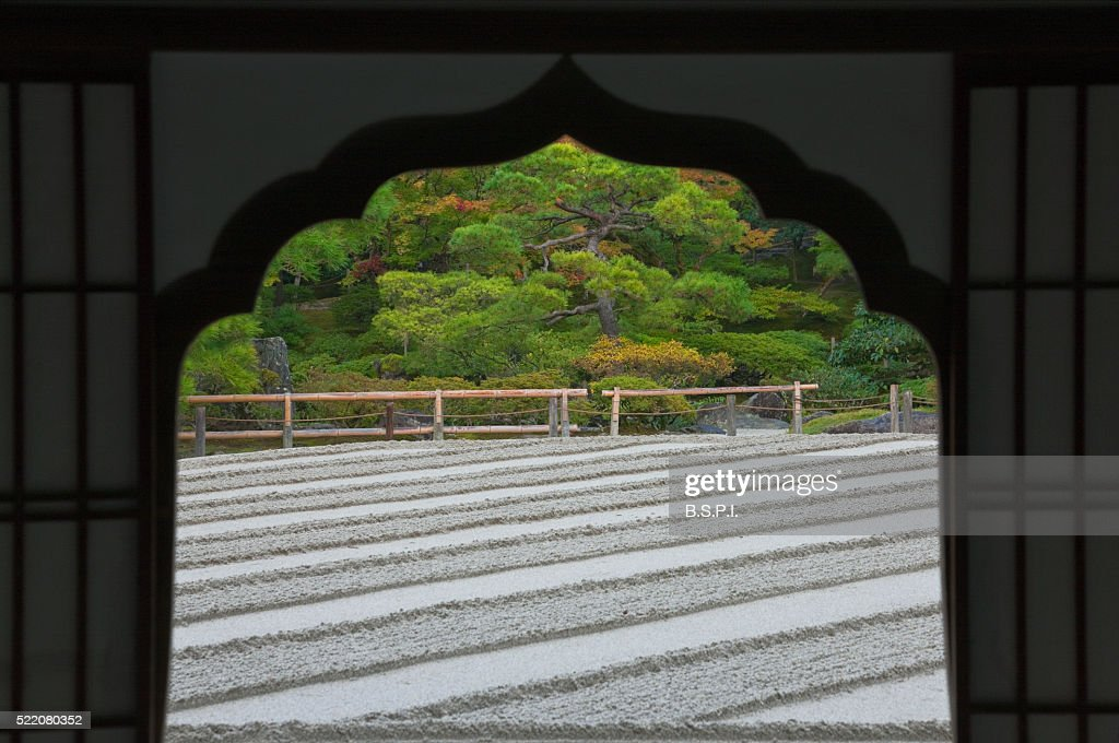 Sculpted Sand Zen Garden View At Ginkakuji Temple In Kyoto Japan ...
