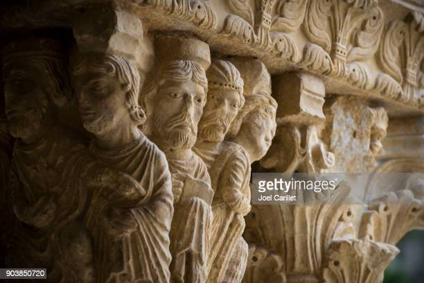 Sculptered capitals at St. Trophime Cloister in Arles, France