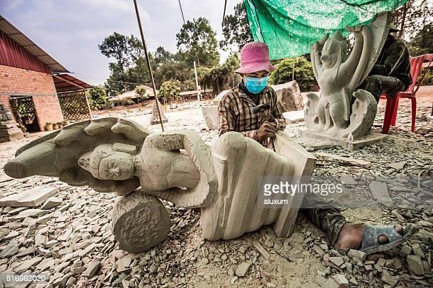 Sculpting religious statues Cambodia