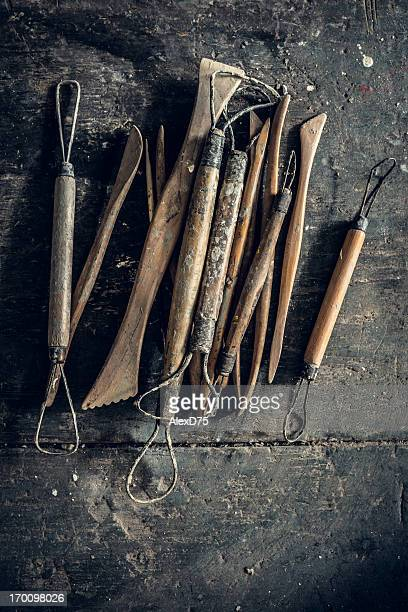 sculpting tools - clay stock pictures, royalty-free photos & images