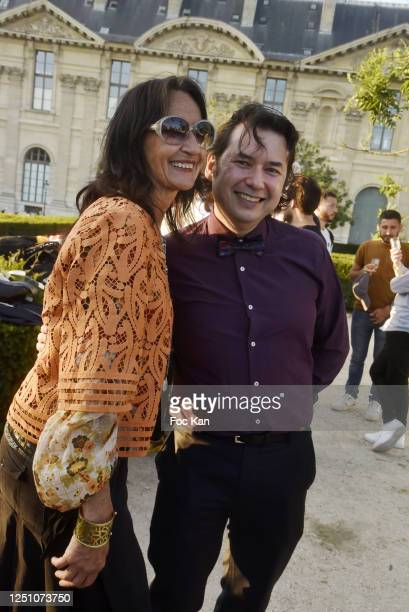 Sculptor Agnes Malterre and photographer Laurent Lo attend Valentin Cavaillé de Nogaret Birthday Party at Jardin du Carrousel on June 16 2020 in...