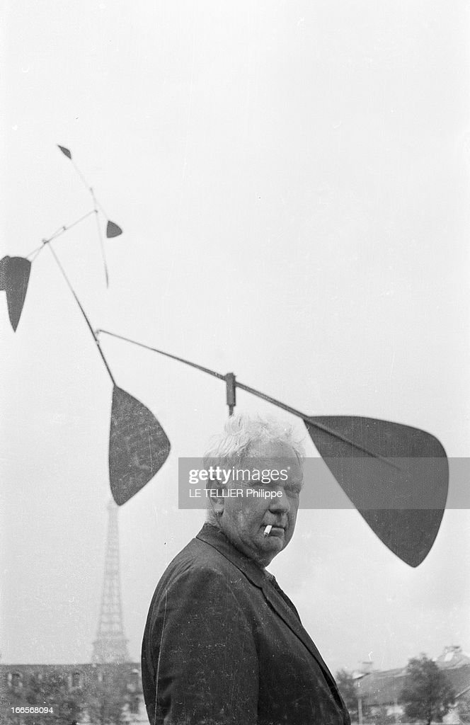 Sculptor Alexander Calder Makes A Mobile For The Palace Of Unesco : News Photo
