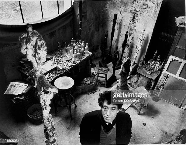 Sculptor And Painter Alberto Giacometti In His Parisian Studio 1957