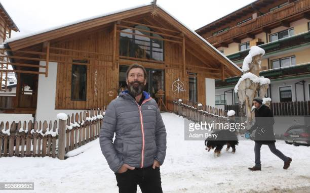 Sculptor and woodworker Rupert Kreuzer poses outside of his workshop on December 15 2017 in Grossarl near Salzburg Austria Krampus is a demonic...