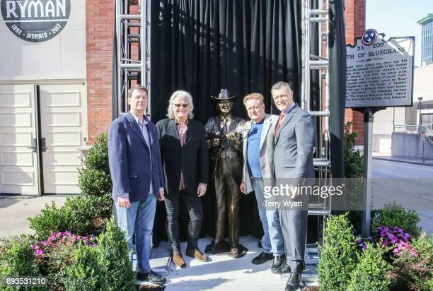 Sculptor Ben Watts,Ricky Skaggs,James Monroe and Billy Cody attend the unveiling of statues of Little Jimmy Dickens and Bill Monroe at Ryman...