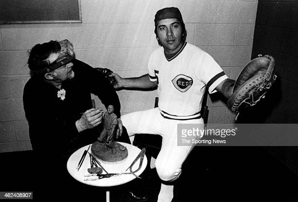 Sculptor Bob Scriver works with Cincinnati Reds catcher Johnny Bench on a preliminary model of The Catcher a limited edition bronze sculpture...