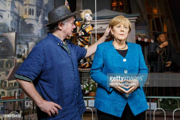 A wax figure of German Chancellor Angela Merkel during its presentation day at Panoptikum on August 14 2018 in Hamburg Germany Panoptikum is...