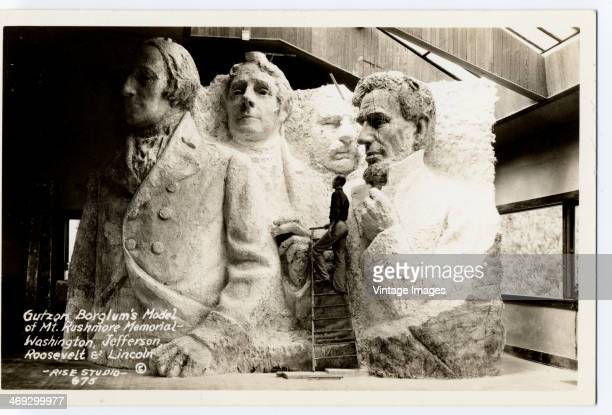 Sculptor Gutzon Borglum's scale model for the Mount Rushmore National Memorial in South Dakota featuring US Presidents George Washington Thomas...