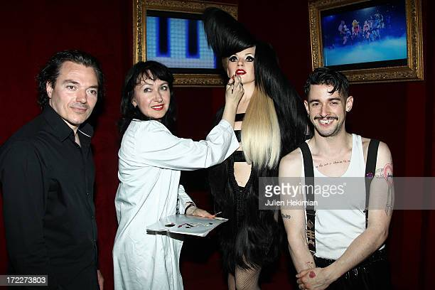 Sculptor JeanBaptiste Seckler a makeup artist of the Grevin Museum and hairdresser Charlie Le Mindu are pictured with the Lady Gaga Waxwork At Musee...