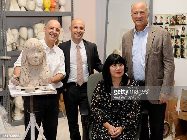 Sculptor Michael Evert Museum of Arts and Design director Glenn Adamson designer Anna Sui and designer Ralph Pucci attend Ralph Pucci The Art Of The...