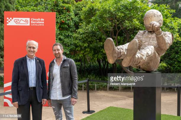 Sculptor Paul Oz attends a Ayrton Senna's sculpture tribute inauguration on the 25th anniversary of his death on May 08 2019 in Barcelona Spain