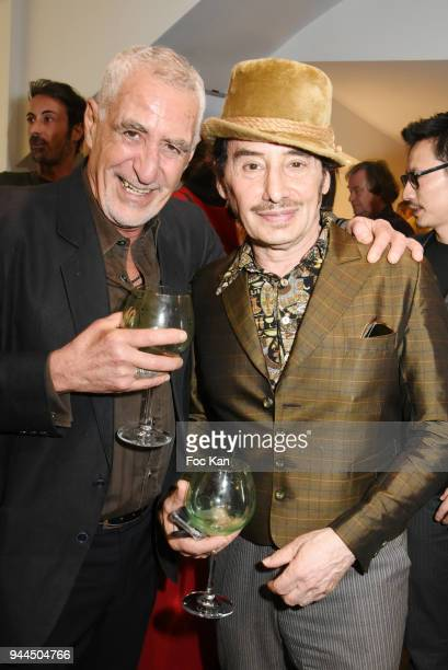 Sculptor Stan Levy and DJ Albert de Paname attend the 'Bel RP' 10th Anniversary at Atelier Sevigne on April 10 2018 in Paris France