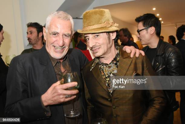 Sculptor Stan LevyÊand DJ Albert de Paname attend the 'Bel RP' 10th Anniversary at Atelier Sevigne on April 10 2018 in Paris France
