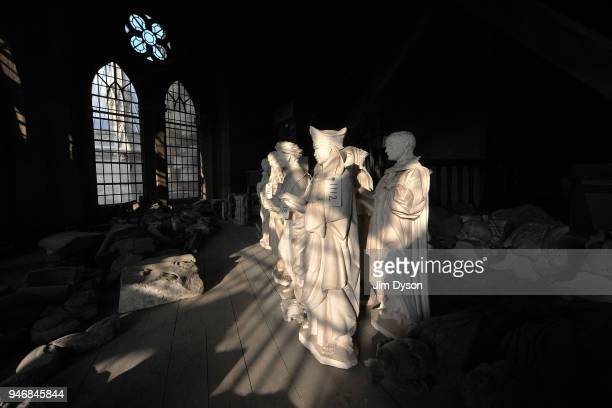 Sculptor's maquettes for the twentieth century martyrs statues above the Great West Door are stored in medieval Triforium at Westminster Abbey before...