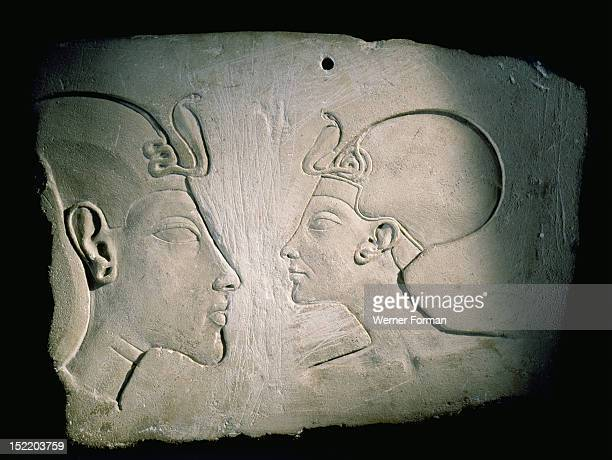 Sculptors model with hole for suspension Identified as Akhenaton and Nefertiti on stylistical grounds Such reliefs would have been created by a...
