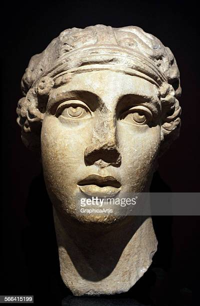 Sculptural bust of the Greek lyric poetess Sappho marble 7th century BC from the Archaeological Museum Istanbul Turkey This is a Roman copy of a...