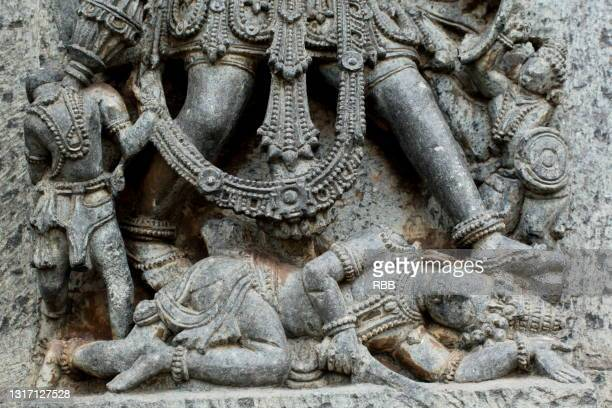 sculpture at halebidu - soapstone stock pictures, royalty-free photos & images