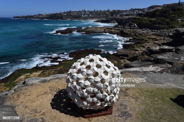 A sculpture by artist Andrea Vinkovic from Serbia is displayed at the 'Sculpture by the Sea' exhibition near Bondi beach in Sydney on October 19 2017...