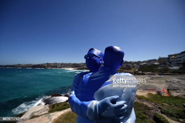 A sculpture by artist Stephen Marr is displayed at the 'Sculpture by the Sea' exhibition near Bondi beach in Sydney on October 19 2017 The 'Sculpture...